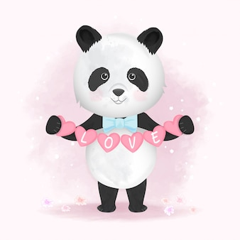 Panda mignon tenant illustration de dessin animé dessiné main coeur