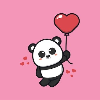 Panda mignon tenant illustration d'icône de dessin animé ballon amour