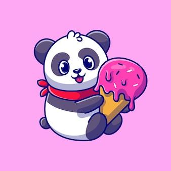 Panda mignon tenant illustration d'icône de dessin animé de cornet de crème glacée.