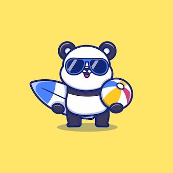 Panda mignon tenant la planche de surf et la boule d'été cartoon vector icon illustration. concept d'icône d'été animal isolé vecteur premium. style de dessin animé plat