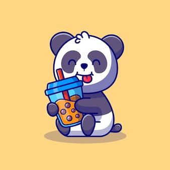 Panda mignon tenant le thé au lait boba cartoon icon illustration concept d'icône de boisson animale premium. style de bande dessinée plat