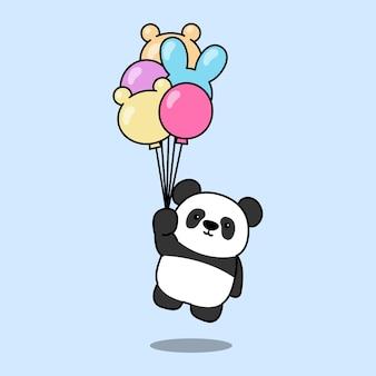 Panda mignon tenant le vecteur de dessin animé de ballons
