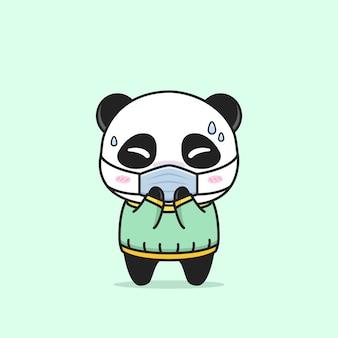 Panda mignon tombant malade avec un masque médical