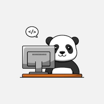 Panda mignon travaillant devant l'ordinateur