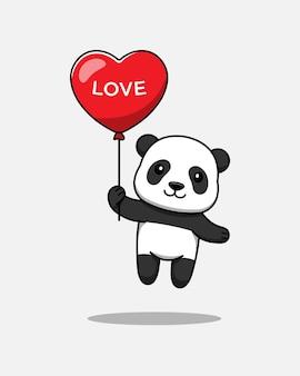 Panda mignon volant avec ballon d'amour