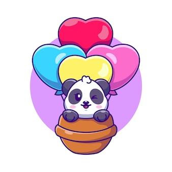 Panda mignon volant avec dessin animé ballon d'amour