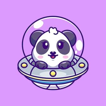 Panda Mignon Volant Avec Dessin Animé Ovni De Vaisseau Spatial Vecteur Premium