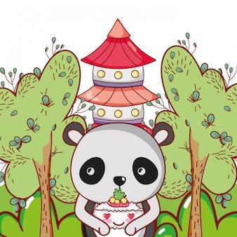 Panda et nourriture kawaii