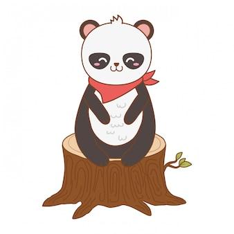 Panda ours mignon dans le caractère bois tronc