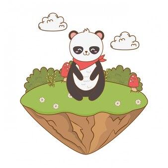 Panda ours mignon dans le caractère de terrain boisé