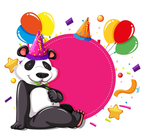 Panda party sur carte rose