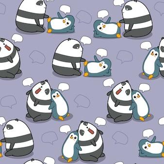 Le panda et le pingouin sans couture discutent.