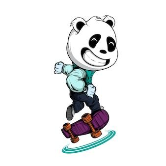Panda playing skateboard isolé sur blanc