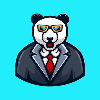Panda portant des lunettes et cravate dessin animé