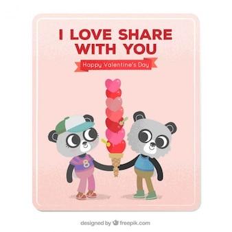 Panda porte carte avec une crème glacée de coeurs