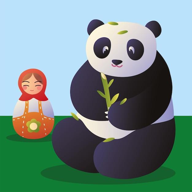 Panda avec poupée matriochka