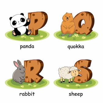 Panda quokka lapin mouton animaux en bois alphabet