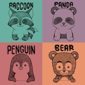 Panda, raton laveur, pingouin et ours dessinés à la main