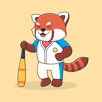 Panda rouge de baseball mignon tenant un bâton