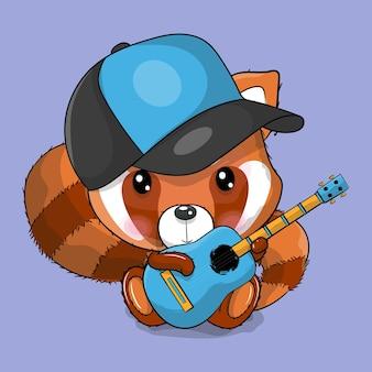 Panda rouge de dessin animé mignon jouant une illustration de vecteur de guitare