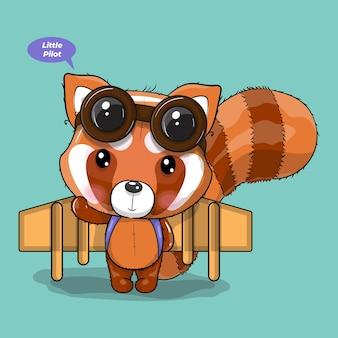 Le panda rouge de dessin animé mignon joue avec un avion