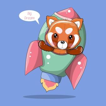 Panda rouge de dessin animé mignon volant sur une fusée