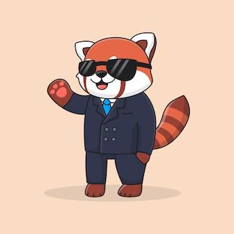 Panda rouge détective mignon portant costume et lunettes
