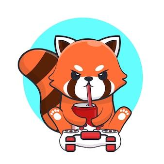 Panda rouge de jeu mignon buvant une illustration de dessin animé de soda.