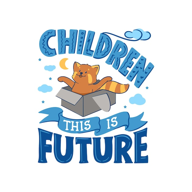 Le panda rouge jouant dans une boîte avec une phrase - les enfants, c'est un avenir.