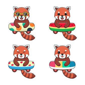 Panda rouge mignon avec anneau de bain à pois, pastèque, amour et arc-en-ciel