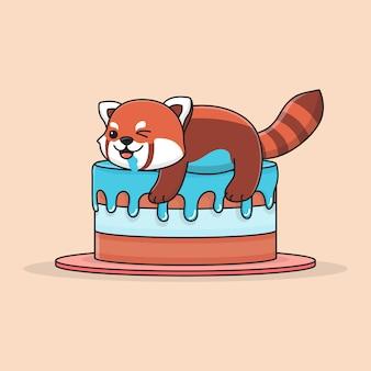 Panda rouge mignon avec un gâteau