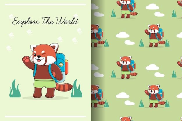 Panda rouge mignon avec modèle sans couture de sac à dos et illustration