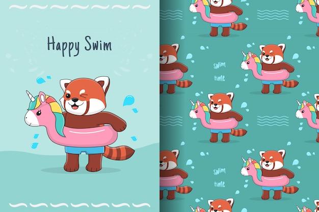 Panda rouge mignon avec motif sans couture de licorne en caoutchouc et carte