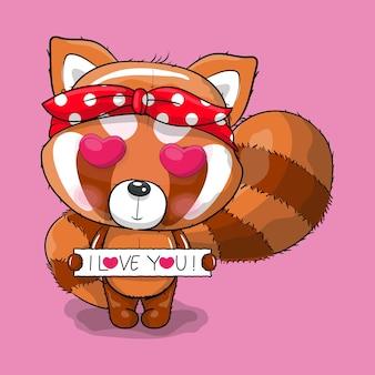 Panda roux de dessin animé mignon avec amour
