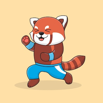 Panda roux mignon travaillant