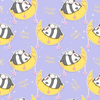 Un panda sans couture et un chat dorment sur le motif de la lune.
