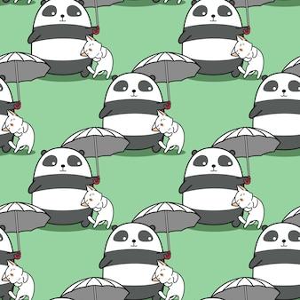 Panda sans couture avec parapluie avec un motif de chat.