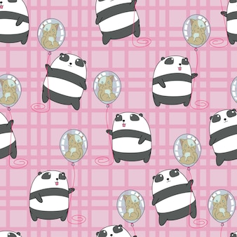 Le panda sans couture tient le chat dans le modèle de ballon.