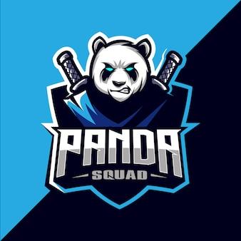 Panda squad avec épée mascotte esport logo design