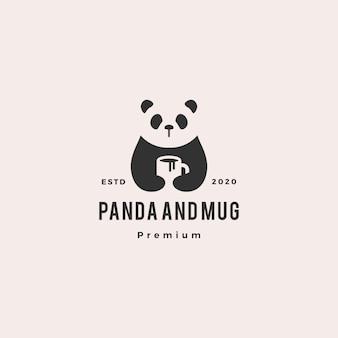 Panda tasse à café logo vintage hipster rétro