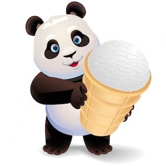 Panda tenant une glace