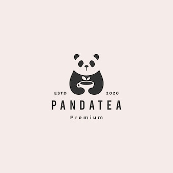 Panda thé tasse logo hipster vintage rétro