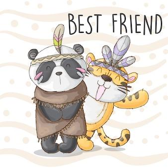 Panda et tiger meilleur ami