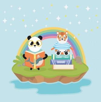 Panda et tigre avec des livres conte de fées arc en ciel fantasy