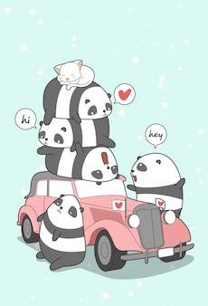 Panda et voitures anciennes en style cartoon.