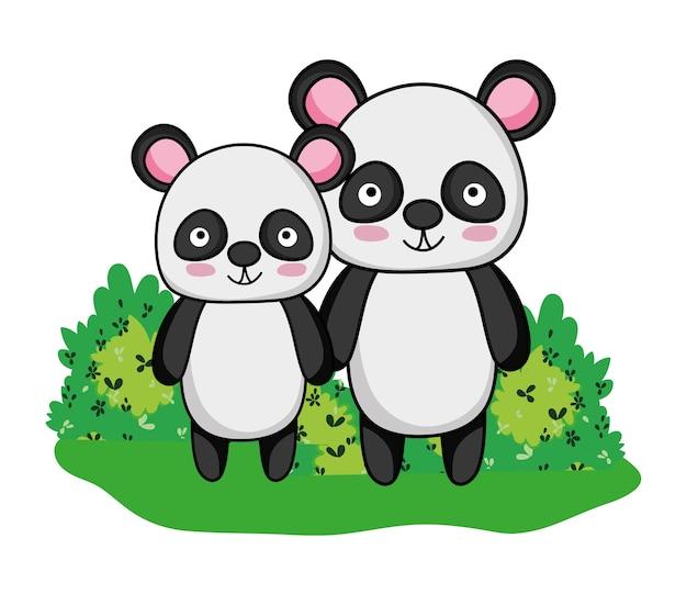 Pandas adorables animaux sauvages et arbustes