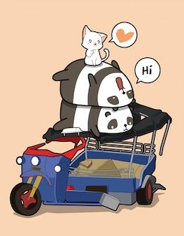 Pandas et chats kawaii avec tricycle à moteur cassé