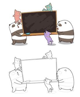 Pandas et chats avec la page de coloration de bande dessinée de panneau arrière
