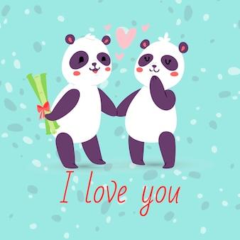 Pandas couple dans la bannière de l'amour, carte de voeux. je t'aime les animaux se tenant par la main. coeurs volants. personnage de la saint-valentin cachant un cadeau de bambou pour fille