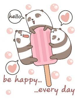 Pandas kawaii avec barre de crème glacée